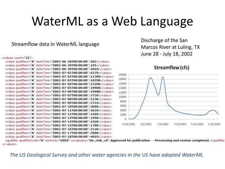 WaterML as a Web Language