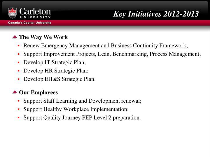 Key Initiatives 2012-2013