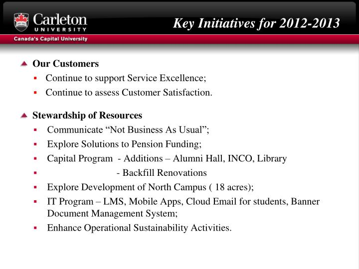 Key Initiatives for 2012-2013