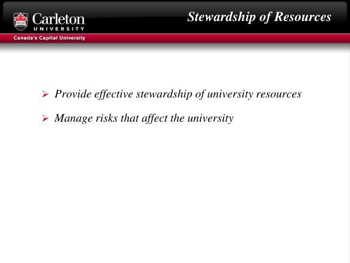 Stewardship of Resources