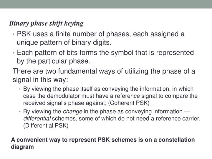 PSK uses a finite number of phases, each assigned a unique pattern of binary digits.