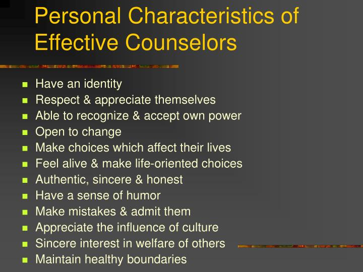 Personal characteristics of effective counselors