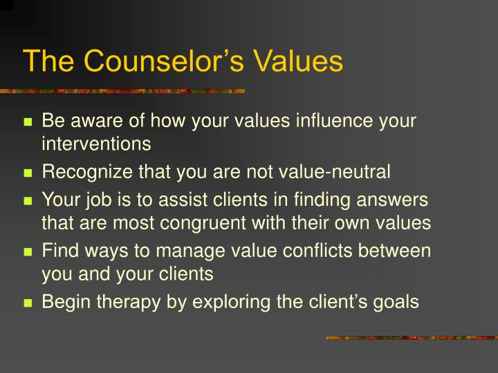 The Counselor's Values