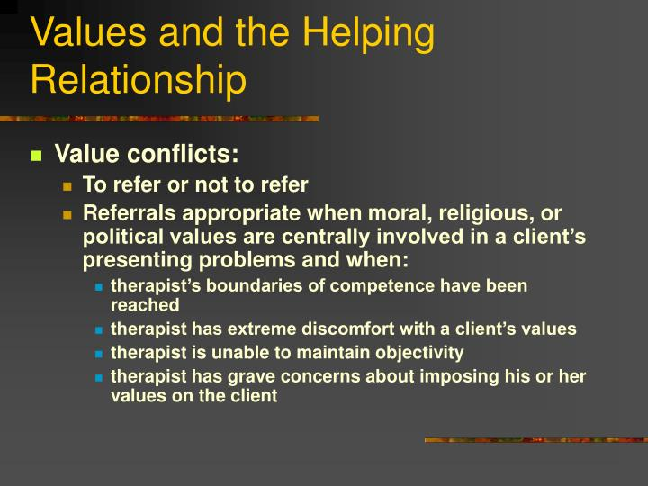 Values and the Helping