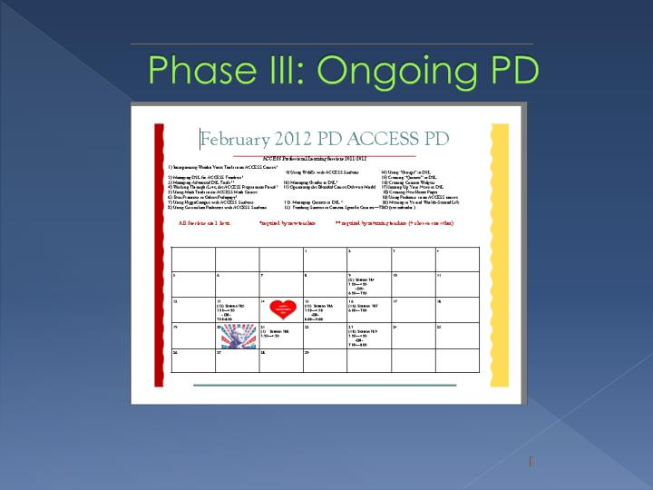 Phase III: Ongoing PD