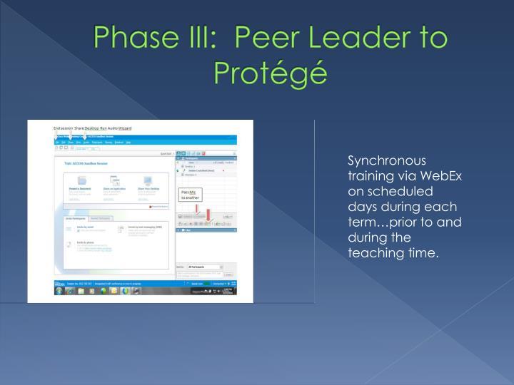 Phase III:  Peer Leader to Protégé