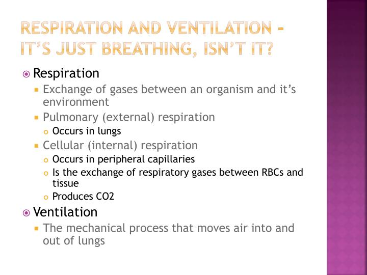 Respiration and Ventilation -