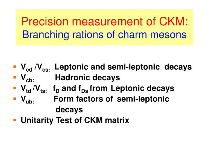 Precision measurement of CKM: