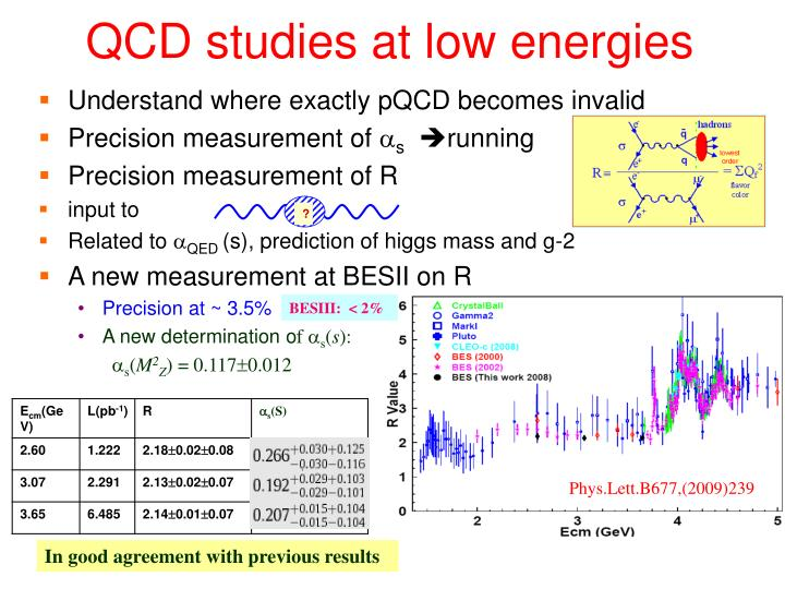 QCD studies at low energies