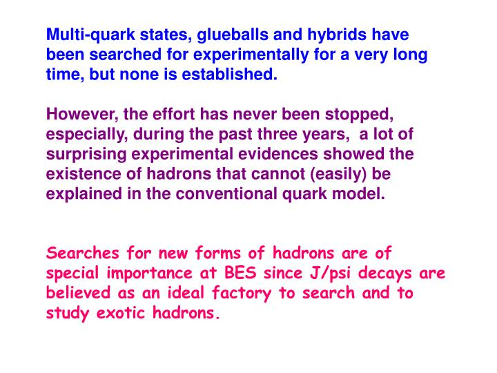 Multi-quark states, glueballs and hybrids have been searched for experimentally for a very long time, but none is established.