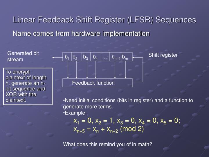 Linear Feedback Shift Register (LFSR) Sequences