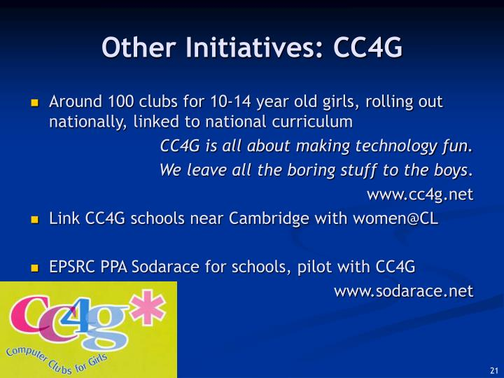 Other Initiatives: CC4G