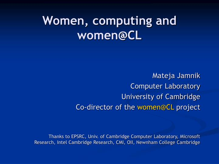 Women computing and women@cl