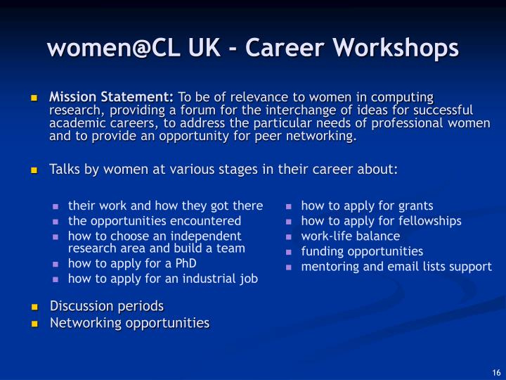 women@CL UK - Career Workshops