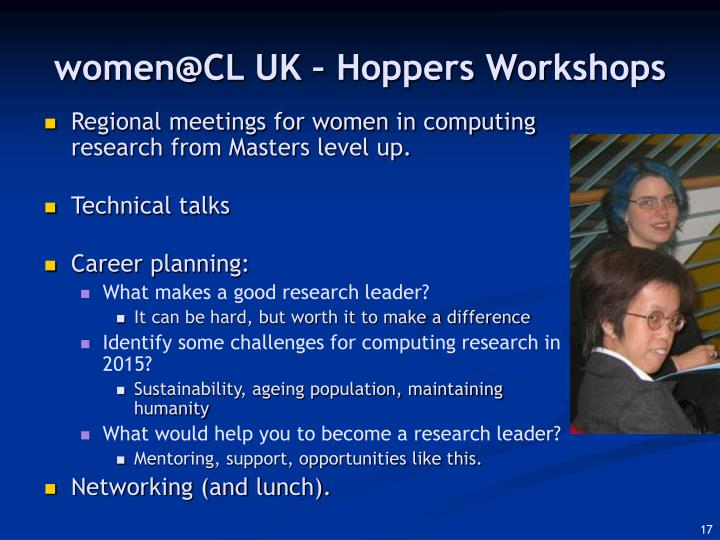 women@CL UK – Hoppers Workshops