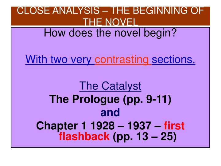 How does the novel begin?
