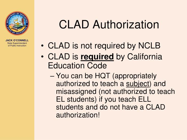 CLAD Authorization