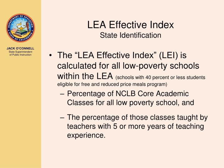Lea effective index state identification