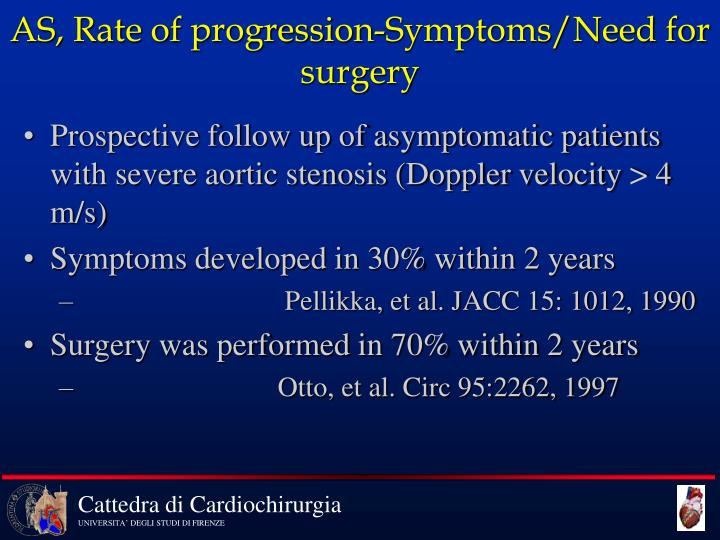 AS, Rate of progression-Symptoms/Need for surgery