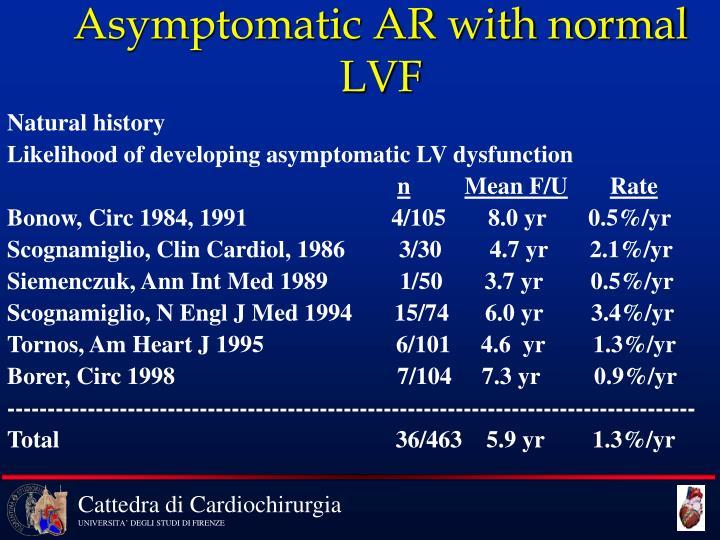 Asymptomatic AR with normal LVF