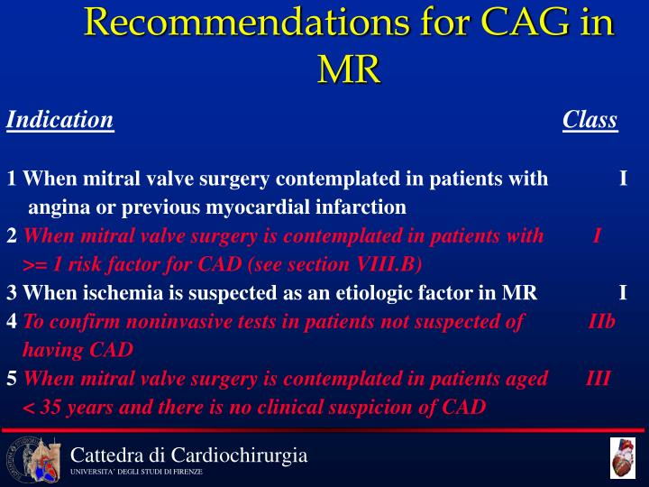 Recommendations for CAG in MR