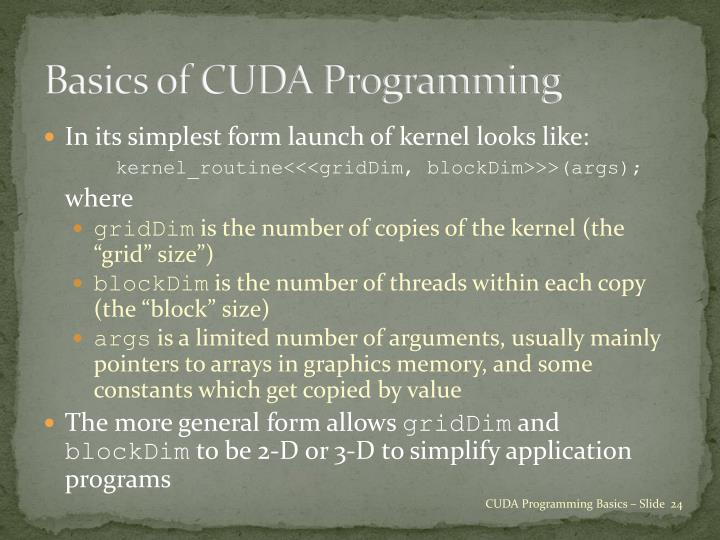 Basics of CUDA Programming