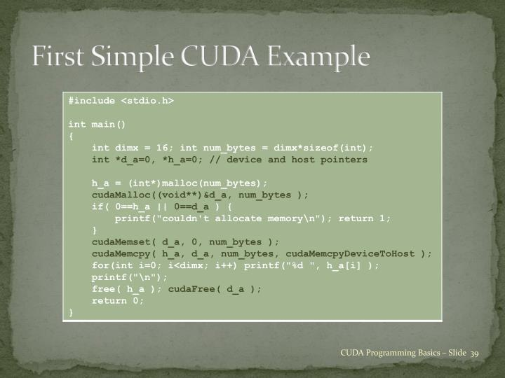 First Simple CUDA Example