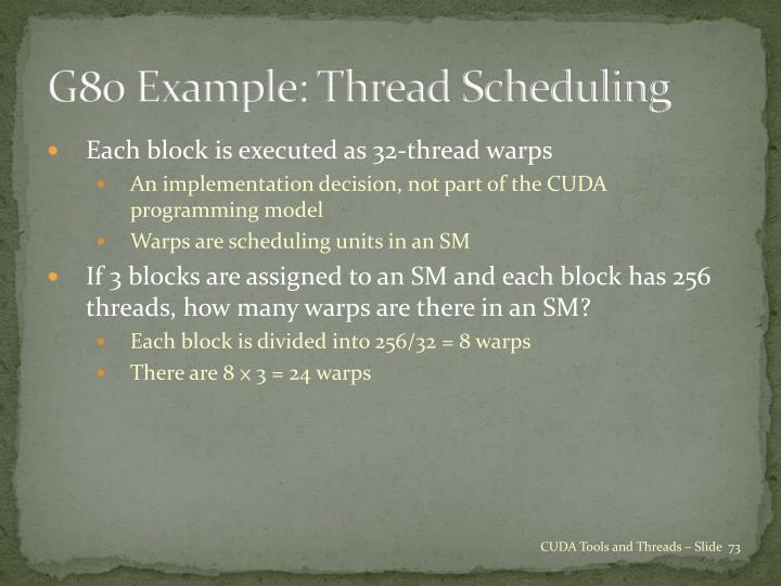 G80 Example: Thread Scheduling