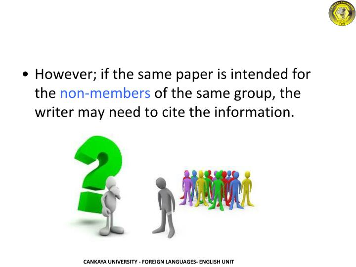 However; if the same paper is intended for the