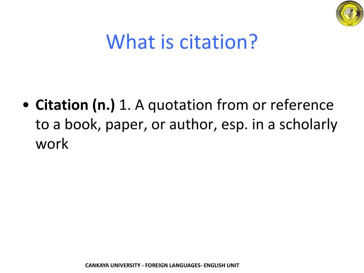 What is citation