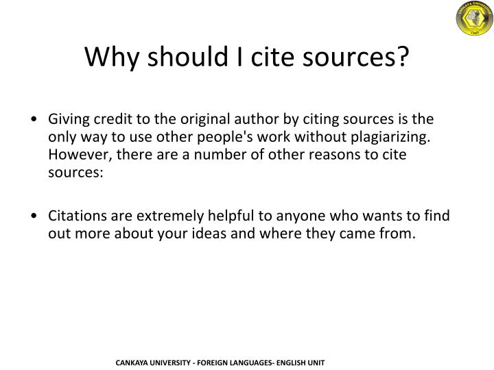 Why should I cite sources?