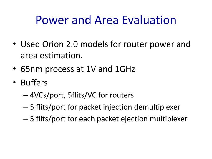 Power and Area Evaluation