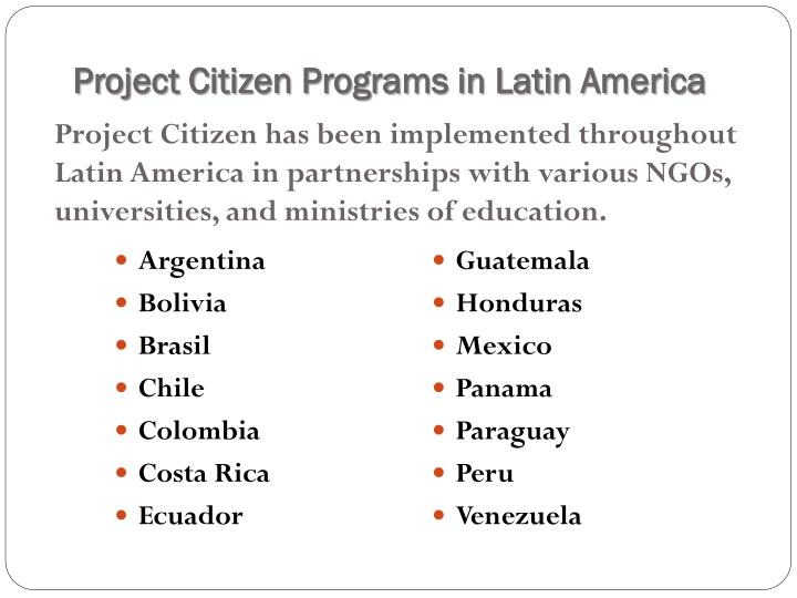 Project Citizen Programs in Latin America