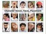 character voices faces placement