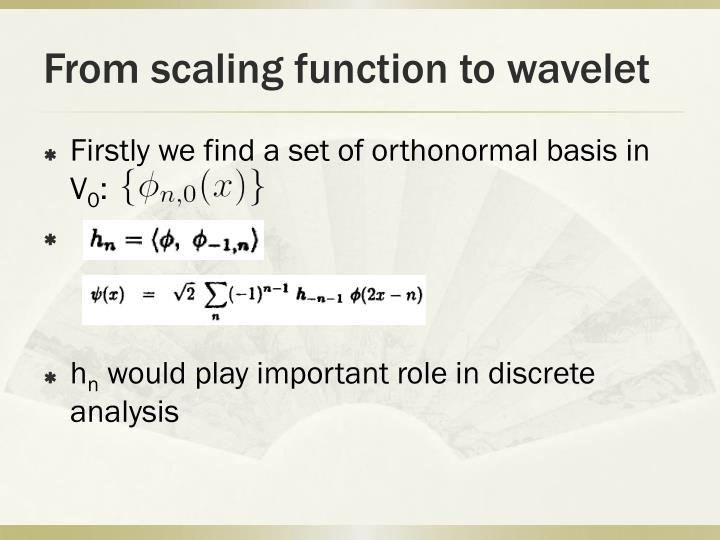 From scaling function to wavelet