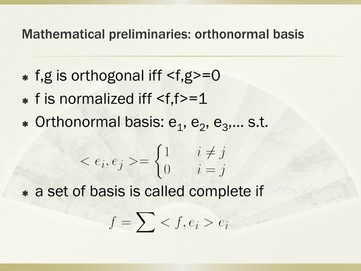 Mathematical preliminaries: