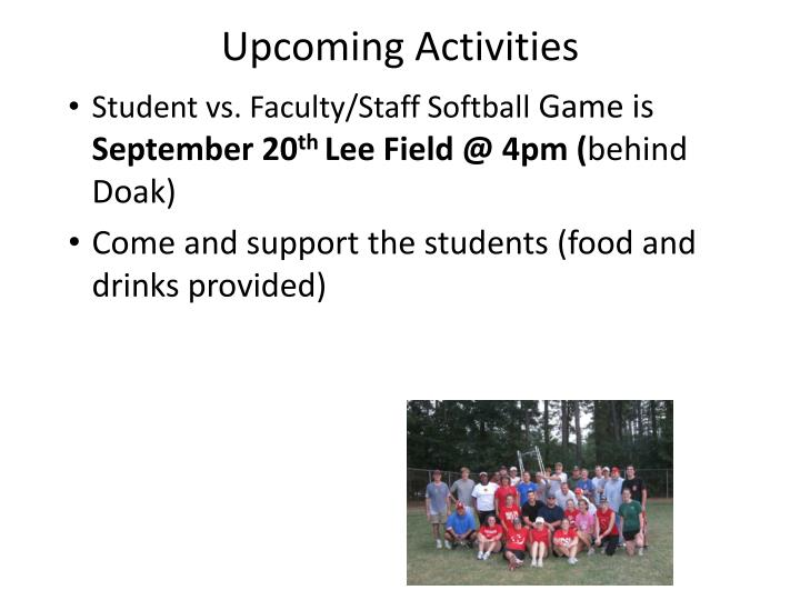 Upcoming Activities