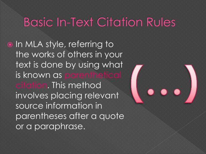 Basic In-Text Citation Rules