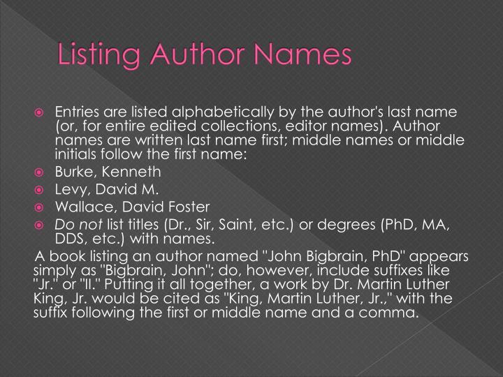 Listing Author Names