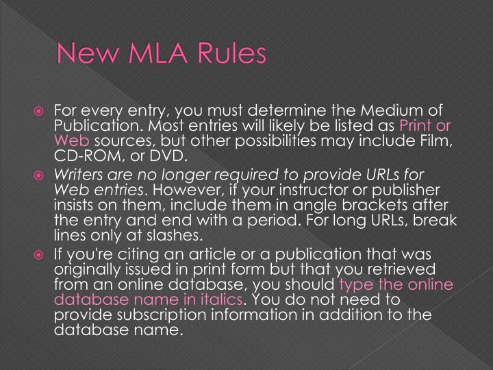New MLA Rules