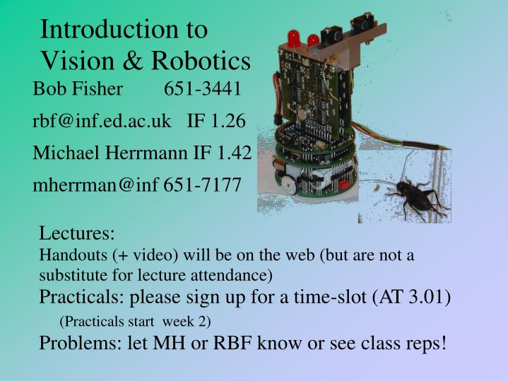 Introduction to vision robotics
