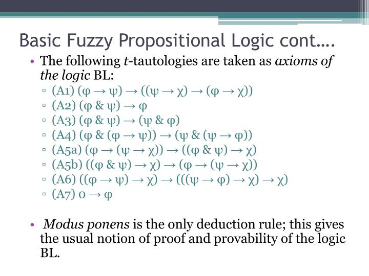 Basic Fuzzy Propositional Logic cont….