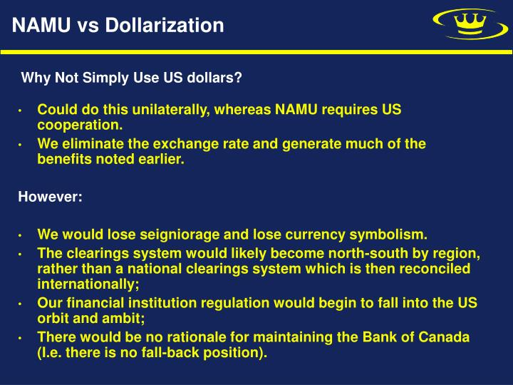 NAMU vs Dollarization