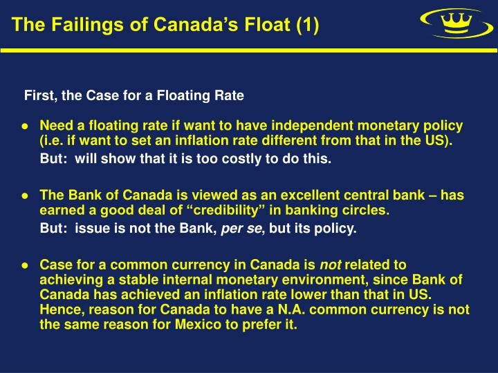 The Failings of Canada's Float (1)