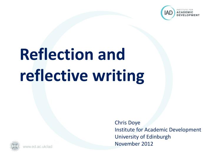 reflection and r eflective writing