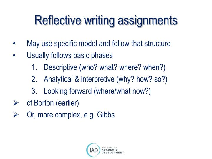Reflective writing assignments