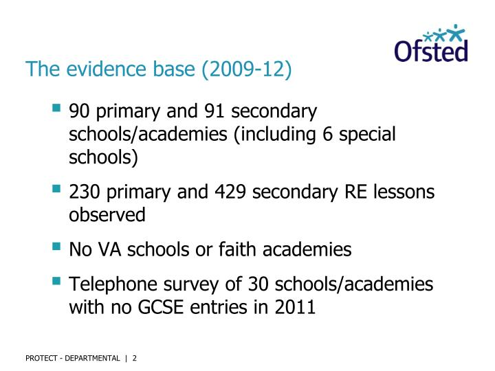 The evidence base (2009-12)