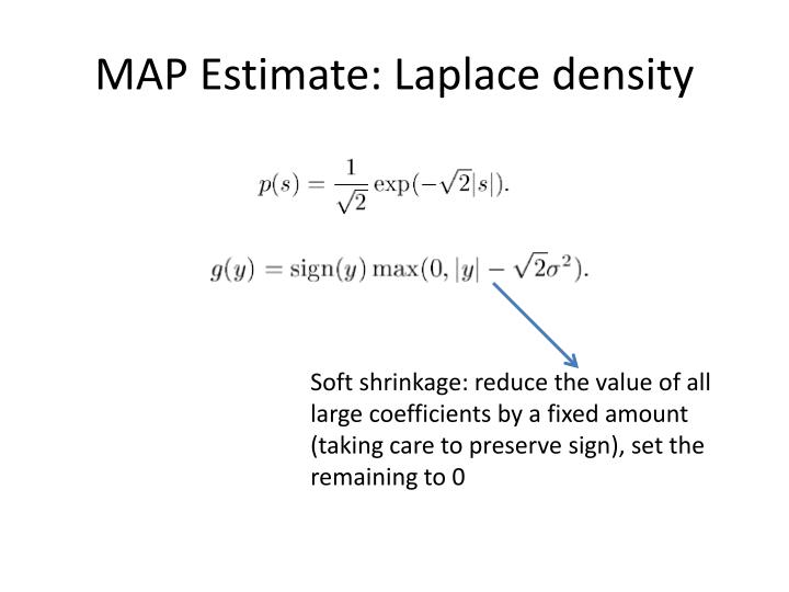 MAP Estimate: Laplace density