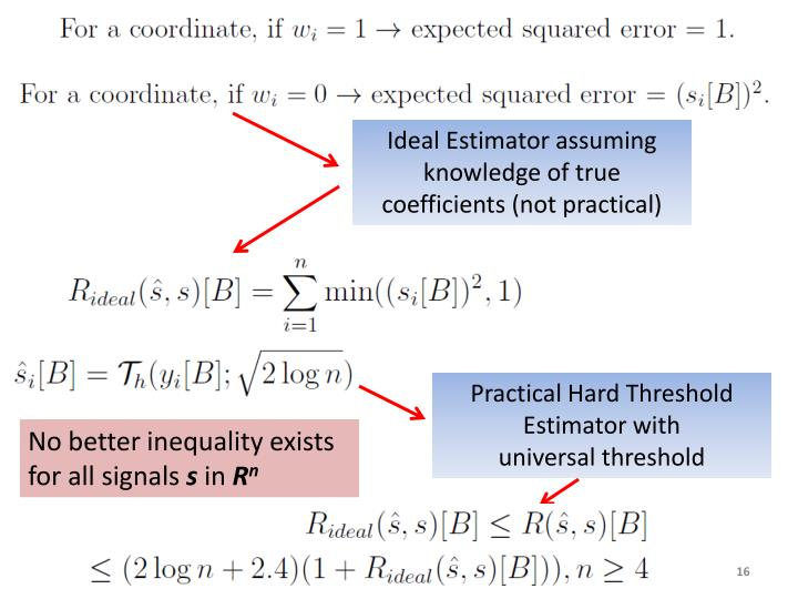 Ideal Estimator assuming knowledge of true coefficients (not practical)
