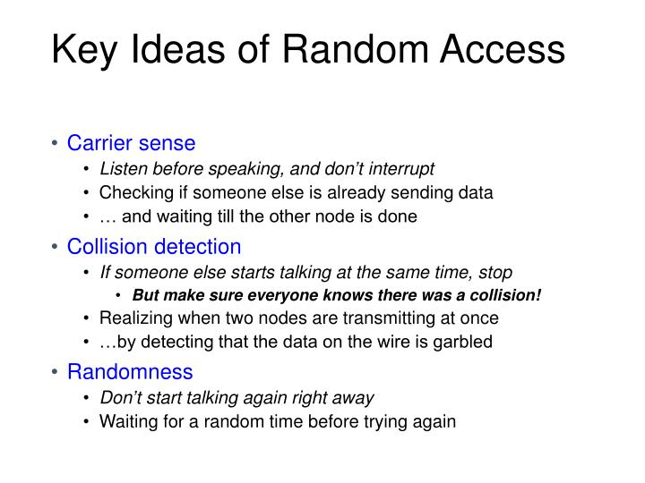 Key Ideas of Random Access